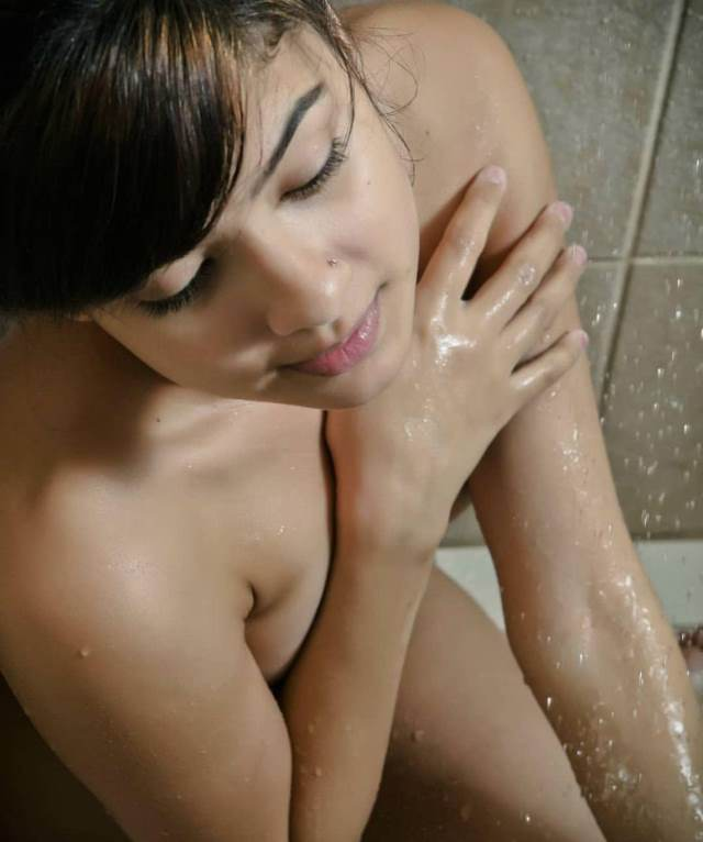 hot indian babe taking nude shower