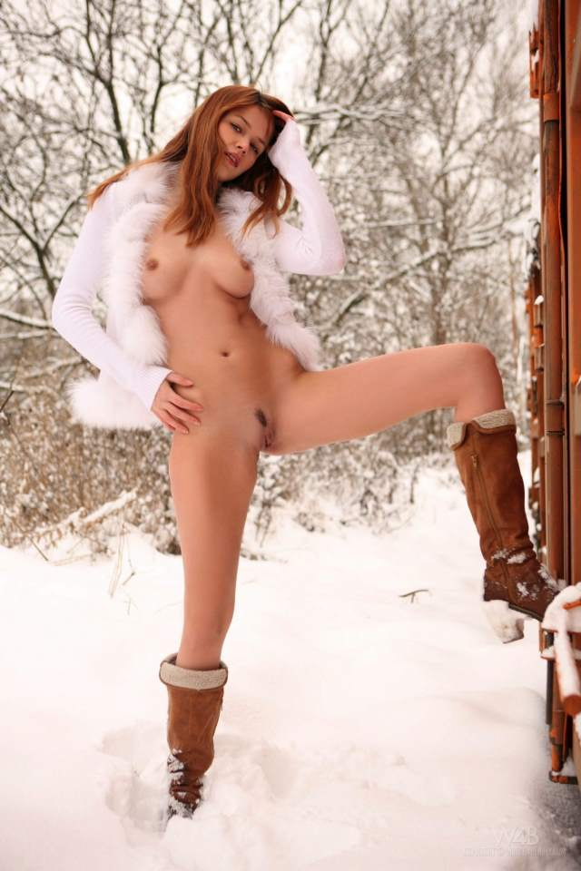 hot girl in cold snow